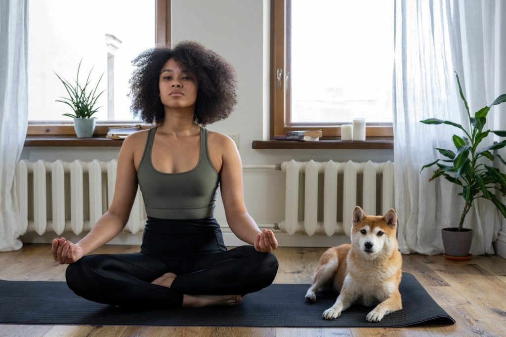 Mulher praticando ioga e cachorro deitado